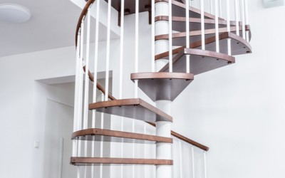 Spiral stairs in living room